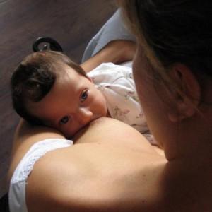 BFB baby looking up at mom